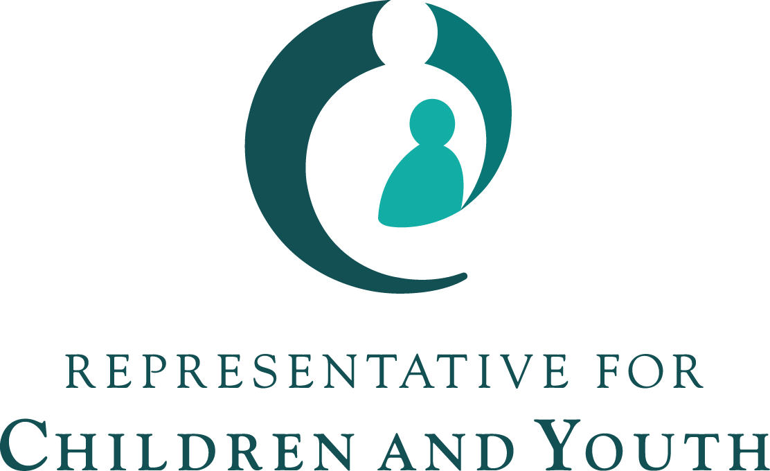 Logo of B.C.'s Representative for Children and Youth. Image is a circular silhouette of an adult holding a child.